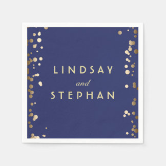 Navy and Gold Confetti Dots Wedding Paper Napkins