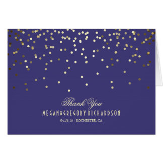 Navy and Gold Confetti Wedding Thank You Card