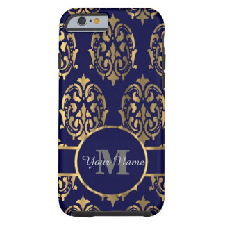 Navy and gold damask monogram tough iPhone 6 case