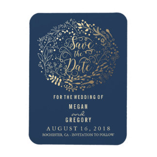 Navy and Gold Filigree Save the Date Rectangular Photo Magnet