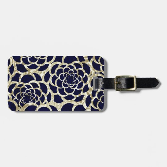 Navy And Gold Floral Art Luggage Tag