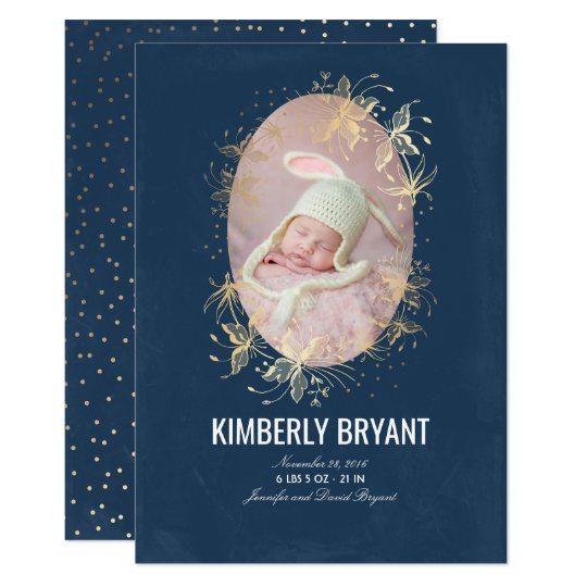 Navy and Gold Floral Chic Baby Birth Photo Card