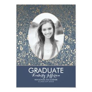 Navy and Gold Floral Chic Photo Graduation Party Card
