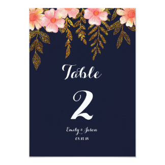 Navy and Gold Floral Table numbers Card