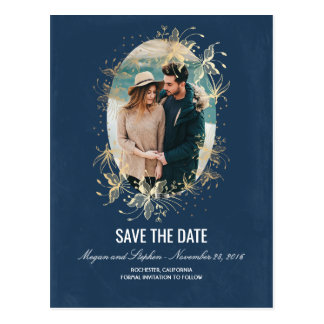 Navy and Gold Floral Vintage Photo Save The Date Postcard
