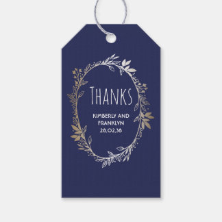 Navy and Gold Floral Vintage Wedding Pack Of Gift Tags