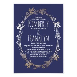 """Navy and Gold Floral Wreath Wedding 5"""" X 7"""" Invitation Card"""
