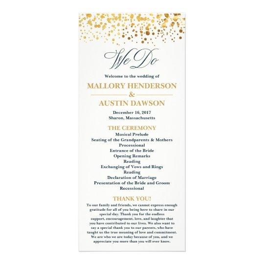 Navy and Gold Glitter Confetti Wedding Program