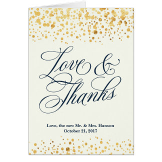 Navy and Gold Glitter Confetti Wedding Thank You Card