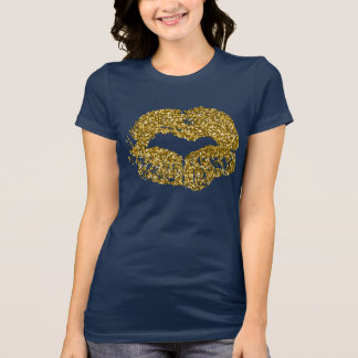 Navy and Gold Glitter Lips Kiss Lipstick Shirt