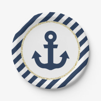Navy and Gold Glitter Paper Plates