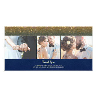Navy and Gold Glitter Vintage Wedding Thank You Photo Card