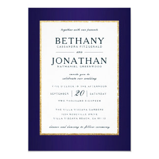 Navy and Gold Glitter Wedding Invitation