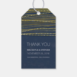 Navy and Gold Glitter Wedding Thank You Gift Tags