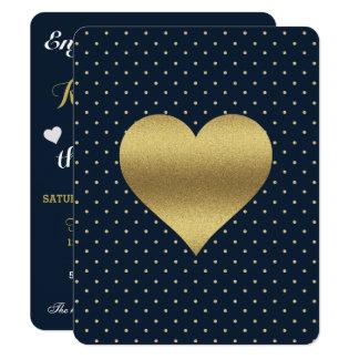 Navy And Gold Heart & Polka Dot Party Invitation