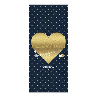 Navy And Gold Heart Wedding Program Rack Card