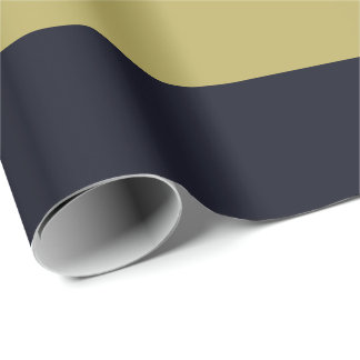 Navy and Gold Horizontally-Striped Wrapping Paper