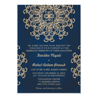 "Navy and Gold Indian Inspired Wedding 5"" X 7"" Invitation Card"