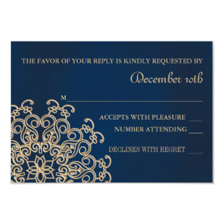 "NAVY AND GOLD INDIAN STYLE WEDDING RESPONSE CARD 3.5"" X 5"" INVITATION CARD"