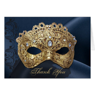 Navy and Gold Masquerade Wedding Thank You card