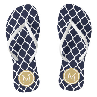 Navy and Gold Moroccan Quatrefoil Monogram Flip Flops