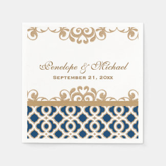 Navy and Gold Moroccan Wedding Disposable Napkin