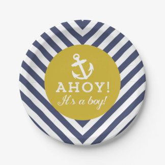 Navy and Gold Nautical Chevron Baby Shower Paper Plate