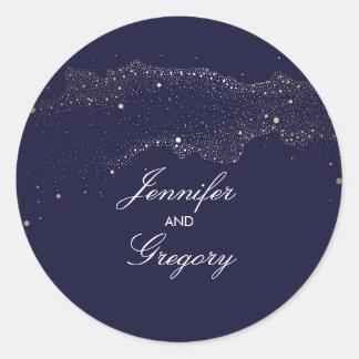 Navy and Gold Night Stars Modern Wedding Classic Round Sticker