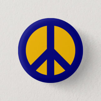 Navy and Gold Peace Symbol Button