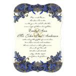 Navy and Gold Peacock Ivory Wedding Invitation
