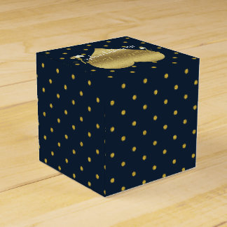Navy And Gold Polka Dots Party Favor Boxes