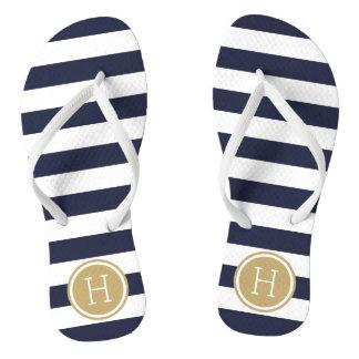 Navy and Gold Preppy Stripes Monogram Flip Flops