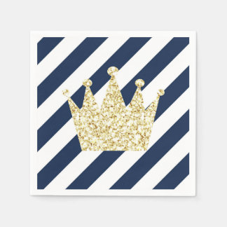 Navy and Gold Prince Crown Napkins Disposable Napkins