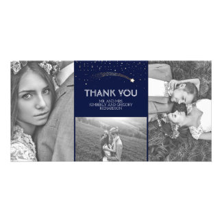 Navy and Gold Shooting Star Wedding Thank You Customized Photo Card