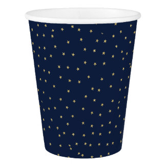 Navy And Gold Stars Paper Cup