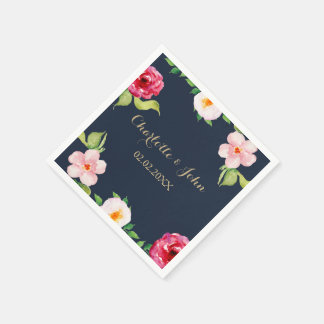navy and gold watercolor flowers wedding disposable napkins