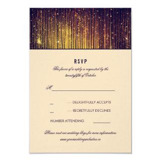 "Navy and Gold Wedding String Lights RSVP 3.5"" X 5"" Invitation Card"