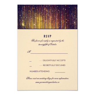 Navy and Gold Wedding String Lights RSVP Card