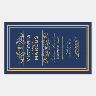 Navy and Gold Wedding Wine Bottle Monogram Favour