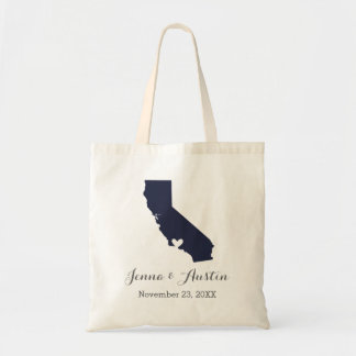 Navy and Gray California Wedding Welcome Tote