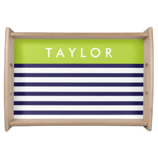 Navy and Green Preppy Stripes Custom Monogram Serving Tray