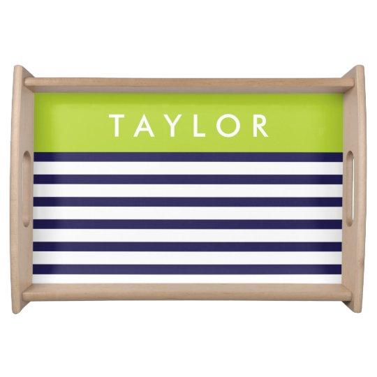 Navy and Green Preppy Stripes Custom Monogram Serving Tray