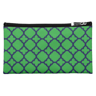 Navy and Green Quatrefoil Cosmetic Bag