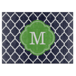 Navy and Green Quatrefoil Custom Monogram Boards