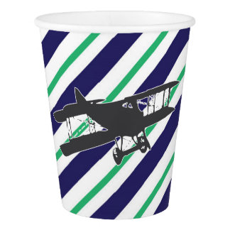 Navy and Green Vintage Airplane Paper Cups