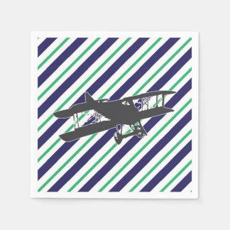 Navy and Green Vintage Biplane Airplane Napkins