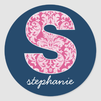 Navy and Hot Pink Damask Pattern Monogram Letter S Classic Round Sticker