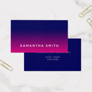 Navy and Hot Pink Ombre Business Card