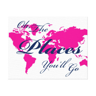 Navy and Hot Pink World Map Places You'll Go Art Canvas Print