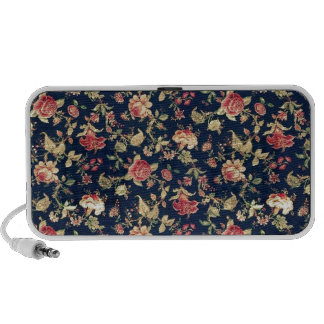 Navy and Ivory Fifties Floral Pattern. Travel Speaker